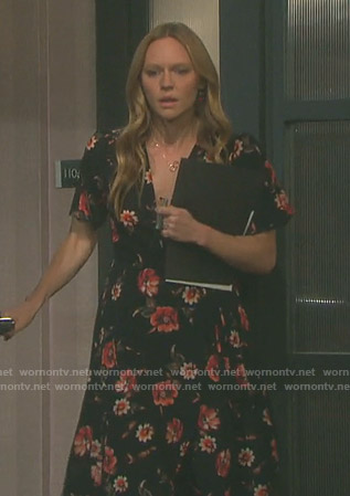 Abigail's black floral wrap dress on Days of our Lives