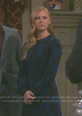 Abigail's black printed long sleeve dress on Days of our Lives