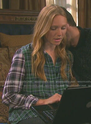 Abigail's green plaid shirt on Days of our Lives