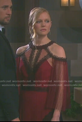 Abigail's red cold-shoulder tulle gown on Days of our Lives