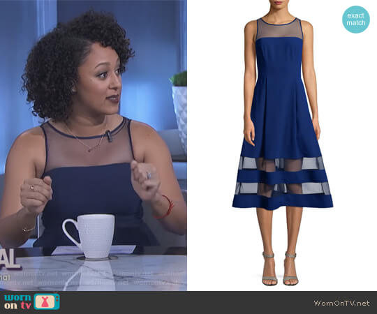 Crepe Mesh Dress by Aidan Aidan Mattox worn by Tamera Mowry on The Real