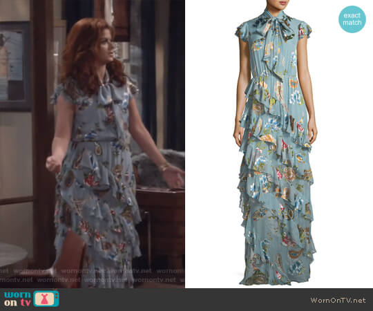 Leslie Maxi Dress by Alice + Olivia worn by Debra Messing on Will & Grace