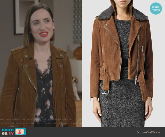 Suede Western Biker Jacket by All Saints worn by Zoe Lister-Jones on Life in Pieces