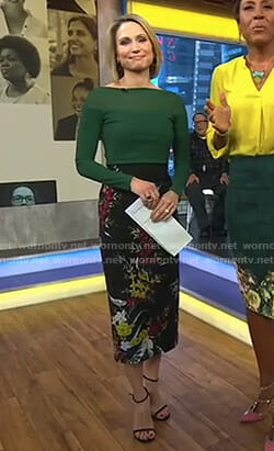 Amy's black floral pencil skirt on Good Morning America