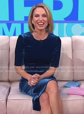 Amy's blue velvet dress on Good Morning America