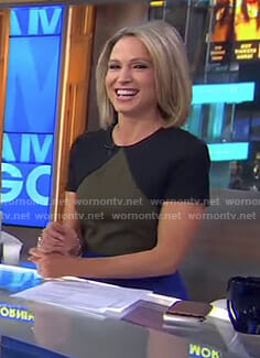 Amy's colorblock short sleeve dress on Good Morning America