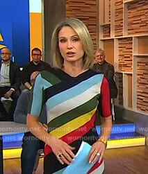 Amy's multi-color striped dress on Good Morning America