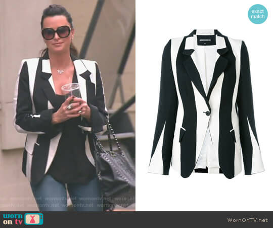 Striped Blazer by Ann Demeulemeester  worn by Kyle Richards  on The Real Housewives of Beverly Hills