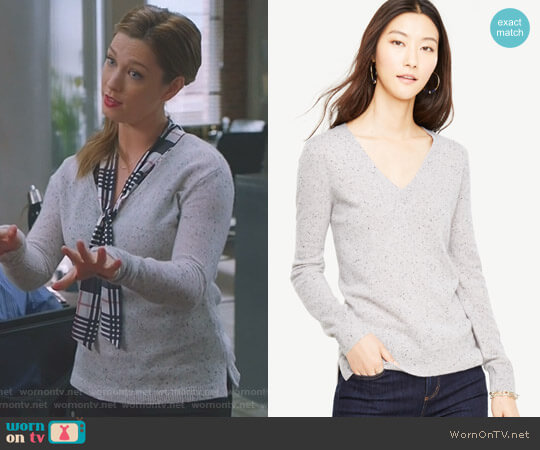 Cashmere Flecked V-Neck Sweater by Ann Taylor  worn by Katherine Wendelson (Briga Heelan) on Great News
