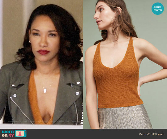 Anthropologie Moth Cropped Sweater Tank worn by Candice Patton on The Flash