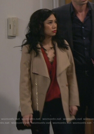 Eve's red lace trim wrap top and beige coat on 9JKL