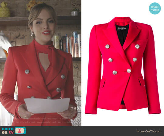 Double Breasted Blazer by Balmain worn by Fallon Carrington (Elizabeth Gillies) on Dynasty