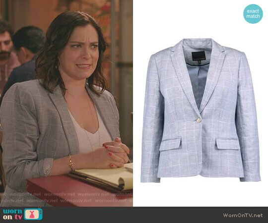 Windowpane Blazer by Banana Republic worn by Rebecca Bunch (Rachel Bloom) on Crazy Ex-Girlfriend