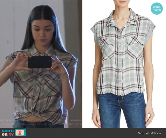 Flap Pocket Plaid Crop Shirt by Bella Dahl worn by Callie Jacob (Maia Mitchell) on The Fosters