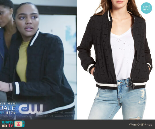 Eyelet Bomber Jacket by BlankNYC worn by China Anne McClain on Black Lightning