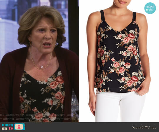 V-Neck Floral Print Cami by Bobeau worn by Judy Roberts (Linda Lavin) on 9JKL