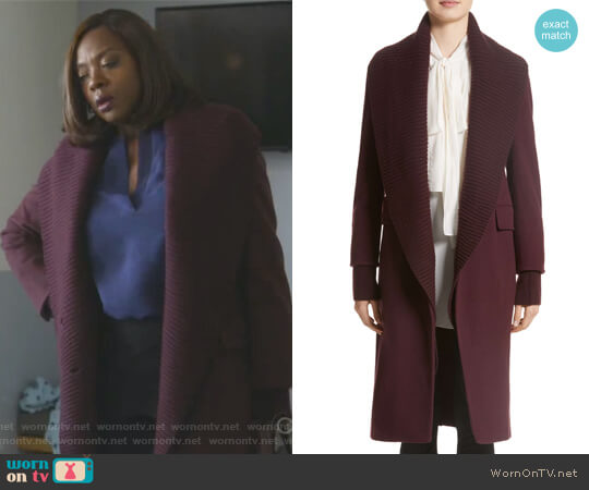 Cairndale Knit Trim Cashmere Coat by Burberry worn by Annalise Keating (Viola Davis) on HTGAWM