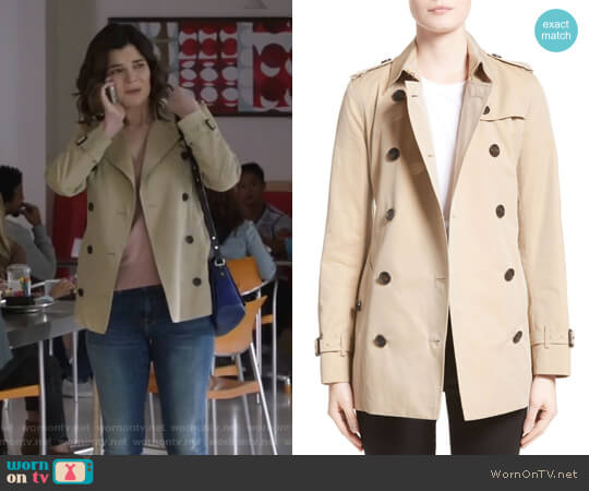 Kensington Short Trench Coat by Burberry worn by Heather Hughes (Betsy Brandt) on Life in Pieces