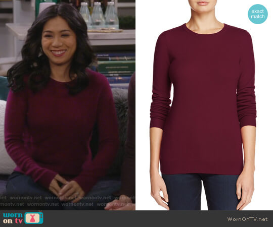 Cashmere Crewneck Sweater by C by Bloomingdales worn by Liza Lapira on 9JKL