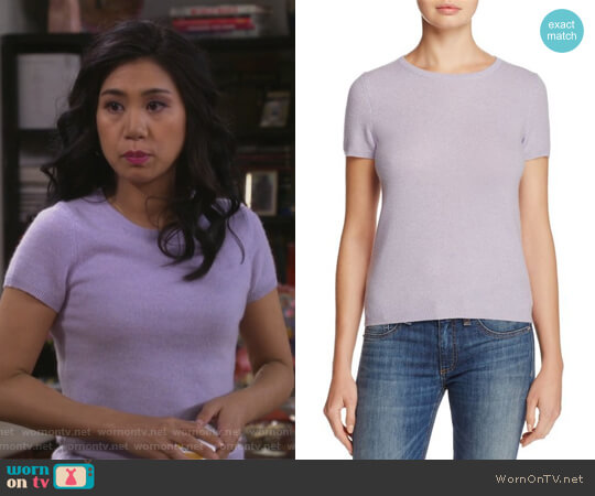 Cashmere Short-Sleeve Sweater by C by Bloomingdale's worn by Liza Lapira on 9JKL