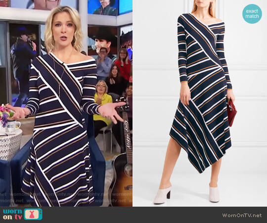 Asymmetric striped metallic knitted midi dress by Cedric Charlier worn by Megyn Kelly on Today