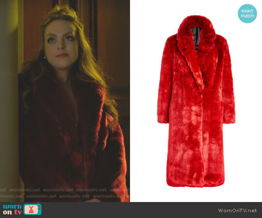 Faux Fur Coat by Calvin Klein 205W39NYC worn by Fallon Carrington (Elizabeth Gillies) on Dynasty