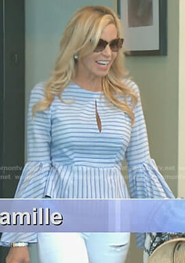 Camille's blue striped bell sleeve top on The Real Housewives of Beverly Hills