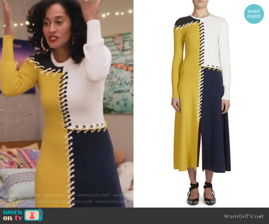 Colorblock Midi Dress by Cedric Charlier worn by Tracee Ellis Ross on Grown-ish