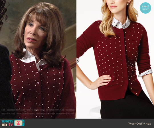 Charter Club Pearl-Embellished Cashmere Cardigan worn by Esther Valentine (Kate Linder) on The Young & the Restless