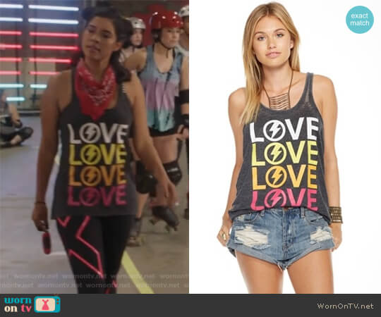 Lo Narrow Racer Tank Top by Chaser worn by Ximena Sinfuego (Lisseth Chavez) on The Fosters