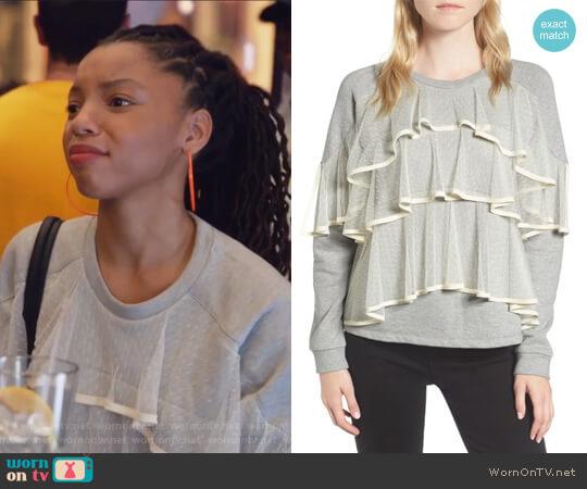 Mesh Ruffle Sweatshirt by Chelsea28 worn by Jazlyn Forster (Chloe Bailey) on Grown-ish