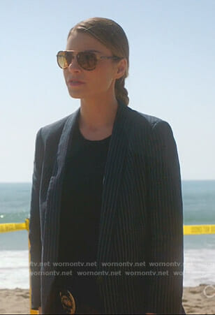 Chloe's navy pinstriped blazer on Lucifer