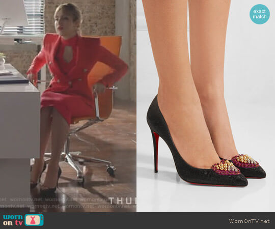 'Coralta Mia' Pumps by Christian Louboutin worn by Elizabeth Gillies on Dynasty