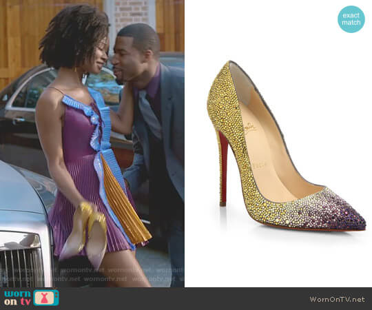 'Pigalle' Ombre Crystal Pumps by Christian Louboutin worn by Wakeema Hollis on Dynasty