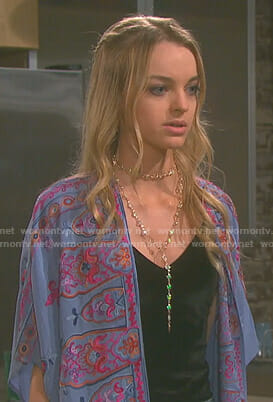 Claire's blue embroidered kimono jacket on Days of our Lives