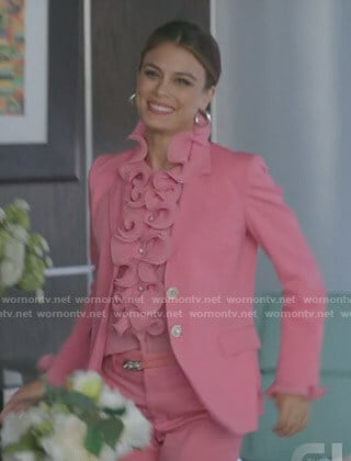 Cristal's pink ruffled blouse and blazer on Dynasty