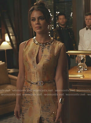 Cristal's printed cape gown on Dynasty