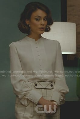 Cristal's white blouse and windowpane pants on Dynasty