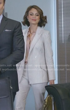 Cristal's white striped suit on Dynasty