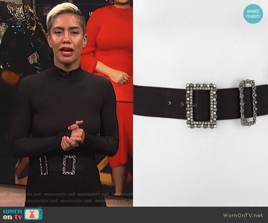 Crystal-Buckled Grosgrain Belt by Lanvin worn by Sibley Scoles on E! News