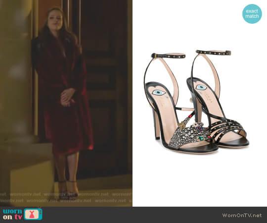 Crystal Hand Applique Embellished Sandals by Gu worn by Fallon Carrington (Elizabeth Gillies) on Dynasty