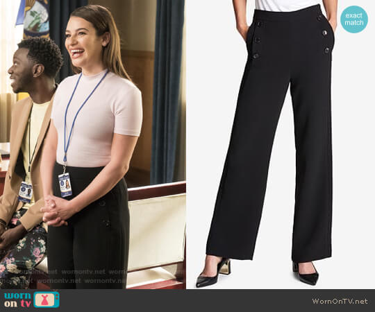Crepe Wide-Leg Pants by DKNY worn by Valentina Barella (Lea Michele) on The Mayor