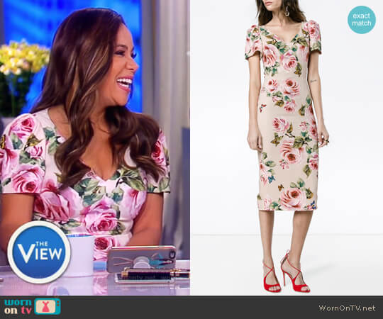 Rose print silk midi dress by Dolce & Gabbana worn by Sunny Hostin on The View