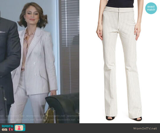 Mid-Rise Striped Flare Cotton-Stretch Trouser by Derek Lam 10 Crosby worn by Cristal Flores (Nathalie Kelley) on Dynasty