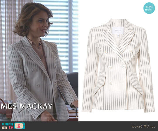 Striped Double-Breasted Blazer by Derek Lam 10 Crosby worn by Cristal Flores (Nathalie Kelley) on Dynasty