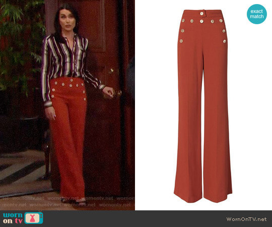 Derek Lam High-Waisted Button Detail Flare Pants worn by Rena Sofer on The Bold & the Beautiful