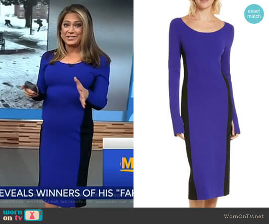 Colorblock Knit Body-Con Dress by Diane von Furstenberg worn by Ginger Zee  on Good Morning America