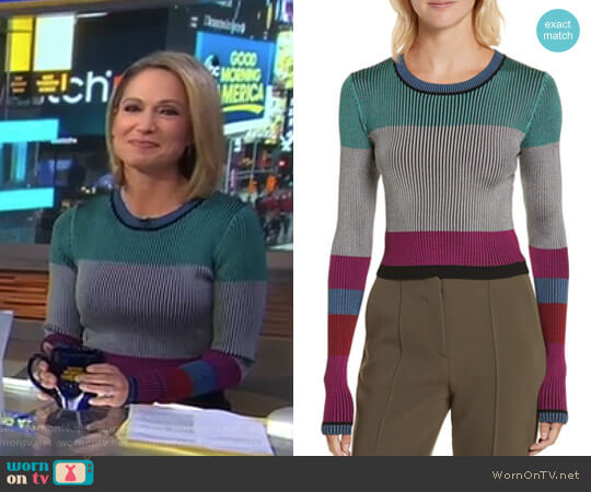 Cropped Plaited Pullover by Diane von Furstenberg worn by Amy Robach  on Good Morning America