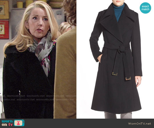 Diane von Furstenberg Long Wool Blend Wrap Coat worn by Melody Thomas-Scott on The Young & the Restless