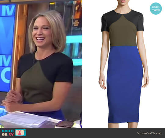 Short-Sleeve Colorblocked Tailored Midi Dress by Diane von Furstenberg worn by Amy Robach  on Good Morning America